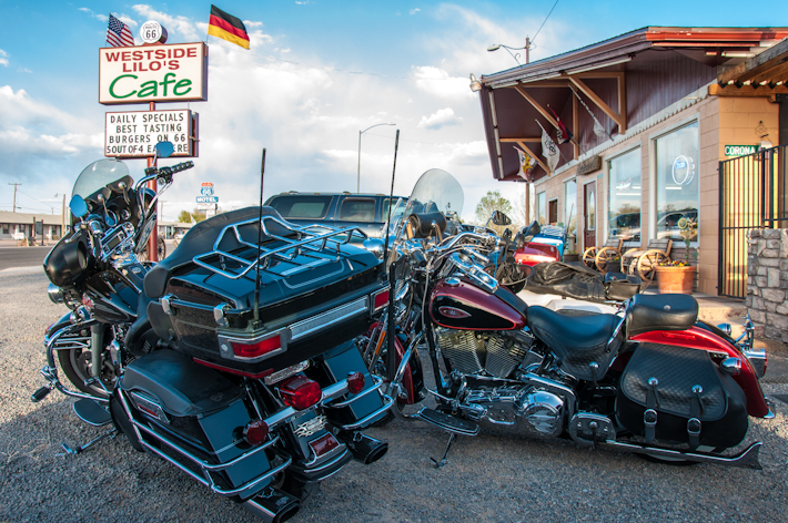 Bikes parked by a diner on Route 66