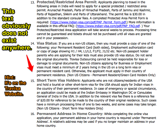 Travisa Point 15 about Short Term Visa Holders in the US