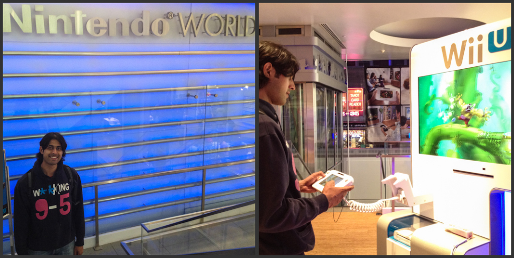Ashray having a blast at the Nintendo World store