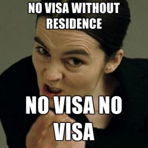 NO visa without residence