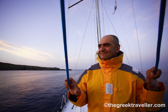 Antonis sailing in Greece