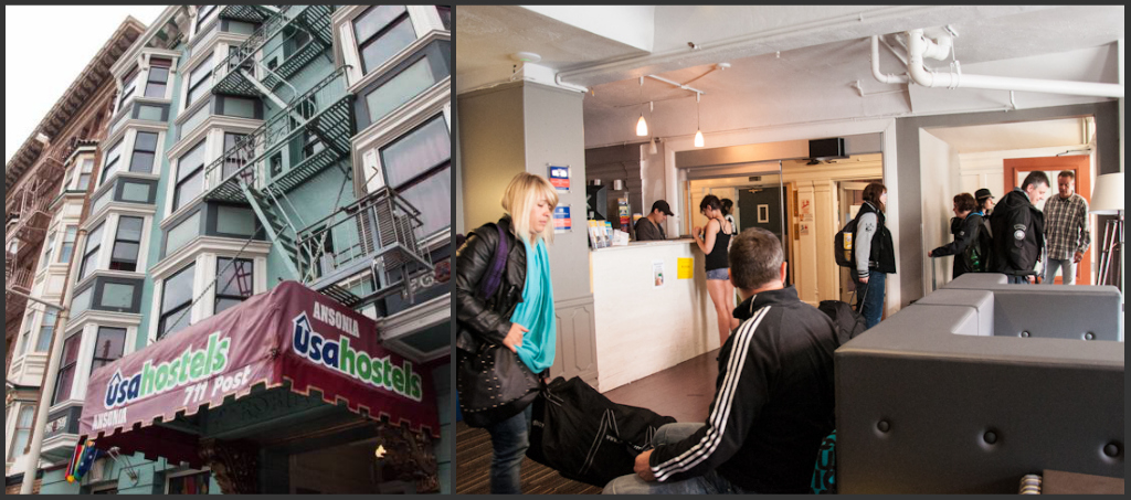 By the entrance of USA Hostels San Francisco