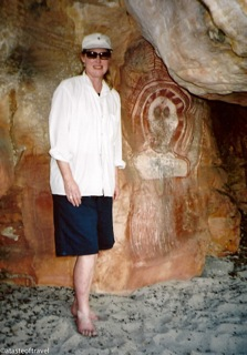 Taken in the Kimberleys where Jenny is standing next to some ancient aboriginal paintings.
