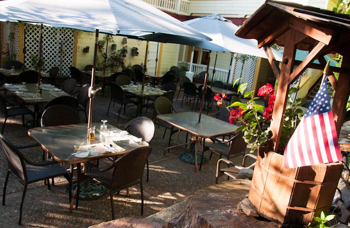Outdoor terrace of The Cellar Door Restaurant