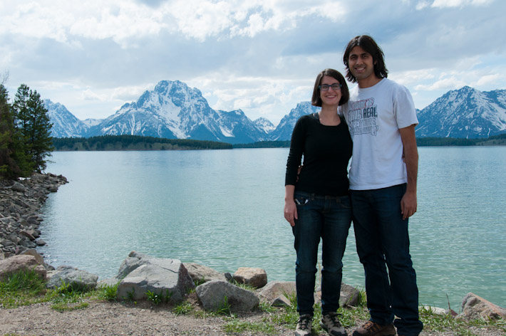 A&Z with the Grand Teton mountain range in the background