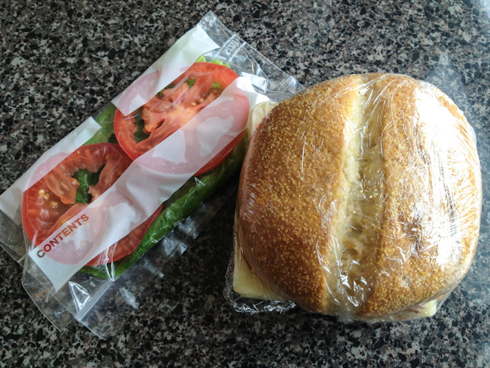 The cafeteria that sold this sandwich inside a National Park has a sign telling people to minimize the usage of straws to reduce waste. Still, they gave the salad that should be inside your bread, in a plastic zip-lock bag!