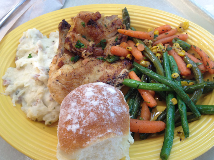 Great Southern style chicken, mash and veggies - believe it or not, in Disneyland! $13.49