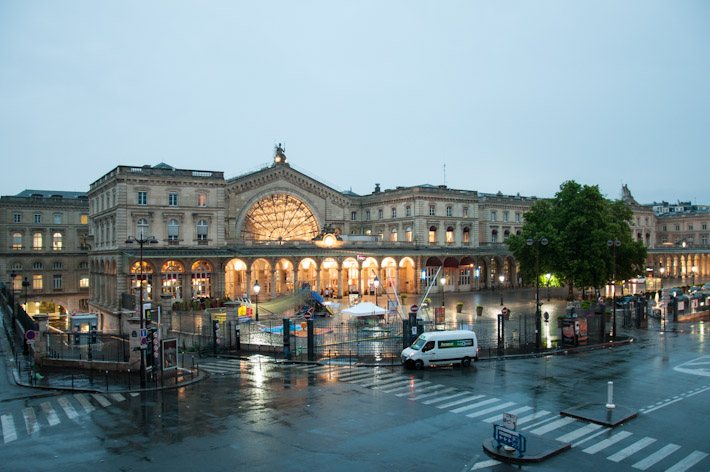 Gare D'Est in the early morning rain