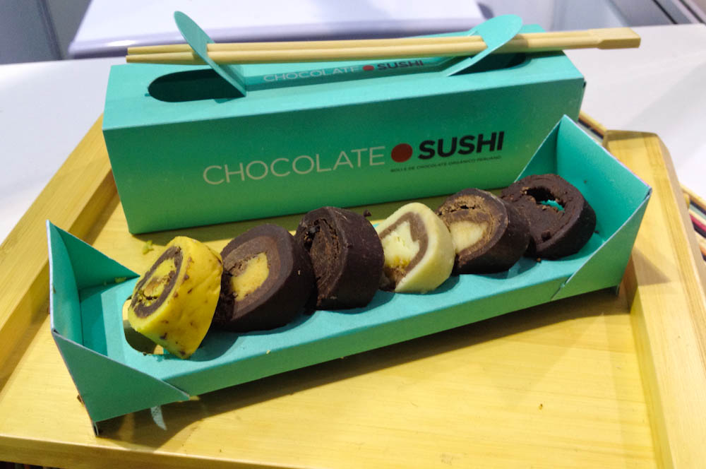 Something fancy to go along with your pisco cocktails: chocolate sushi!